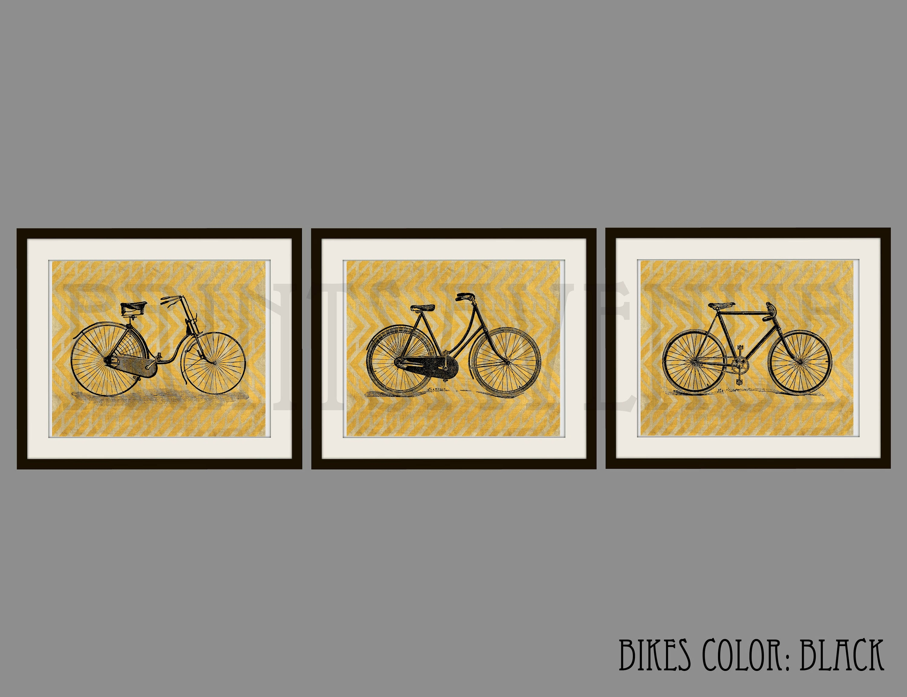 BIKE Art Prints BICYCLE Wall Art BIKE Wall Decor Bike Trio