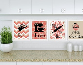 Set of 4 modern kitchen wall art- Live Love and Bake Cupcakes - Baking Kitchen Mixer Utensils Kitchen Art Collection Personalize Colors