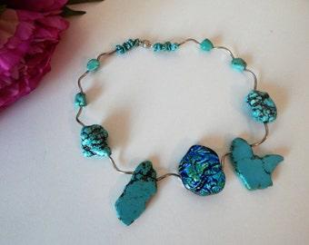 Turquoise Aqua Fused Glass Necklace
