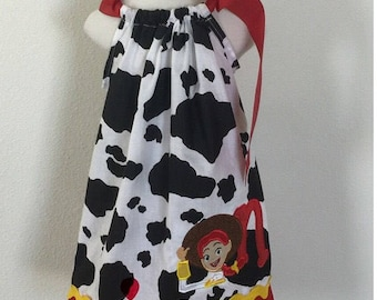Jessie Toy Story Cow Print Pillowcase Dress Disney Dress Birthday Dress Photo Prop Dress