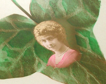 Ivy, 1900s French postcard with Edwardian lady, RPPC paper ephemera.