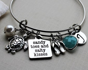 beach theme bracelet, beach theme bracelet, personalized beach bracelet, beach initial bracelet, beach theme gift, beach theme jewelry