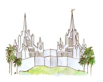 San Diego LDS Temple Watercolor Print (DIGITAL)