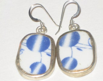 Japanese Lanterns - Blue and White upcycled pottery shard earrings Ming Dynasty colors on Sterling Silver Earwires
