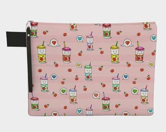 Pink Heart Drinks Zipper carry-all Bag