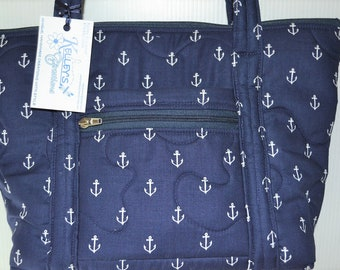Quilted Fabric Handbag Navy Blue with White Anchors