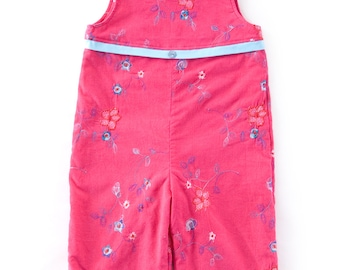 """Baby dungarees/ overalls in pink corduroy cotton, embroidered with motif """"flower"""""""