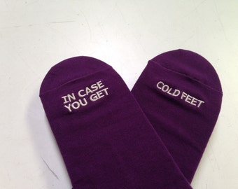 PLUM David's Bridal Specialty Grooms Socks 'In Case You Get Cold Feet'™ Wedding Gift, Mens Wedding Socks from Bride, Groom Wedding Gift