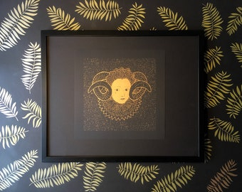Antler and Tear, illustration A3, metallic gold risograph print, renaissance portrait, drawing, black poster