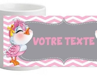 UNBREAKABLE PINK BIRDIE MUG PERSONALISED WITH THE TEXT OF YOUR CHOICE