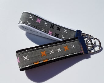 Grey Pink Orange and White Key Fob Wristlet Keychain