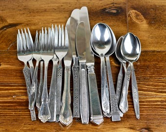 Mismatched Stainless Flatware Vintage Silverware Japan USA 20pcs Set for 4