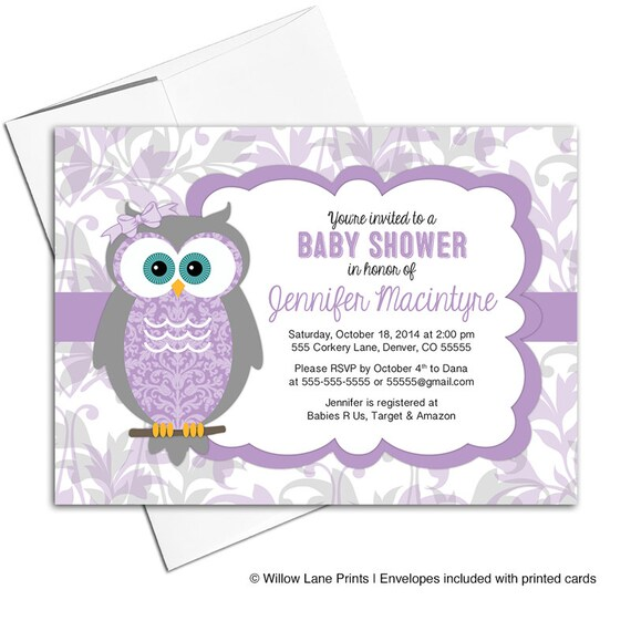 Baby Girl Baby Shower Invitations With Owls Gray Purple Baby
