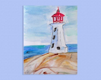 Lighthouse, original water color painting, Landscape, seascape A4, watercolor Painting, Blue Painting, Nursery Art, sea-themed watercolor