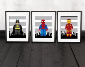 superhero wall decor, kids room, nursery wall prints, set of 3, PRINTS, shipped to your door., superhero bedroom wall decor, spiderman print