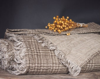 Linen Blanket, Brown Blanket, Linen Bedding, Linen Gift