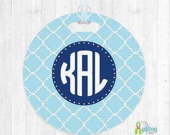 Monogrammed Luggage Tag, Bag Tag, Luggage Name Tag, Backpack Tag, Monogram Luggage Tag, Travel Accessory, Fancy Clover Design