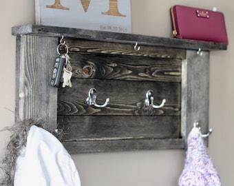 Entryway coat rack, key rack and shelf. Ebony stained.
