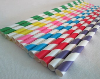 Paper Straws Primary Crayola Stripes Mix Perfect for a Boy's Party or a Birthday Party Baby Shower or Add Some Color To Any Event
