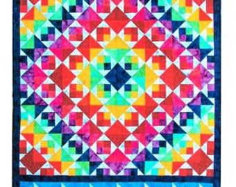BB Quiltworks Rhapsody In Hues Rare Out of Print Chart Pack Rotary Cut Quilt Pattern Pinwheel Triangles Pieced Borders