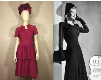 Stand Tall & Magenta Like - Vintage WW2 1940s Magenta Jersey Rayon Drape Dress w/Peplum - XS