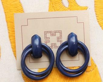 Navy Statement Earrings // 80s Metal Circle Rings Bold Earrings
