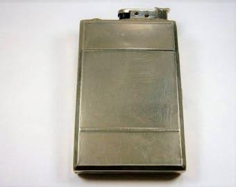Vintage Cigarette Case and Lighter, 1960's,  Silver Tone Cigarette Case and Lighter, Textured Back, Cigarette Holder, Card Holder