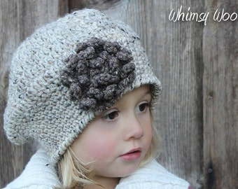 CROCHET Beret PATTERN: 'Sofia Belle Beret with Crochet Flower', Winter Fashion