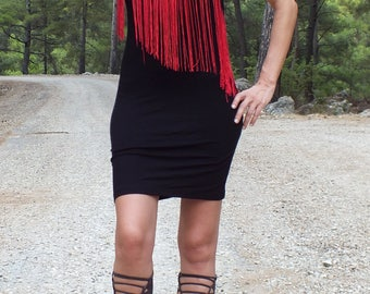 Gypsy dress, hippie dress, bohemian dress, boho dress, black dress, cotton dress, festival dress, ethnic dress, fringe dress, cool dress