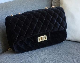 QUILTED Velvet Shoulder Bag - It Bag 2018