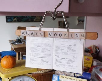 """Recipe holder hanger, Scrabble letters """"What's Cooking""""   Free U.S. shipping."""