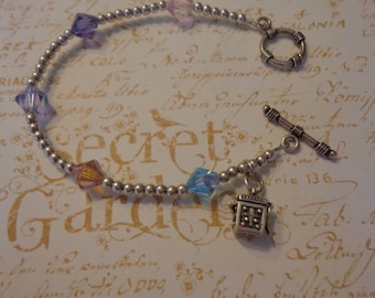 "Artisan Created Sterling and Swarovski Beaded Bracelet w/ Vintage Sterling Wish Box Charm 7 1/2"" Prayer Box"