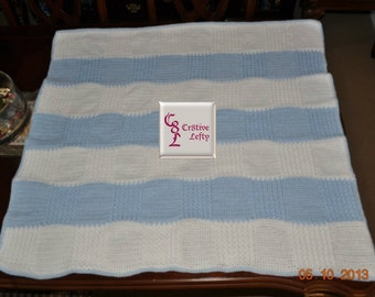 Blue and White Baby Afghan