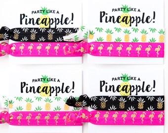 Hair Tie Bachelorette Favor | Pineapple + Flamingo Hair Tie Favors, Tropical Luau Bachelorette Hair Tie Favors, Beach Bachelorette Hair Ties