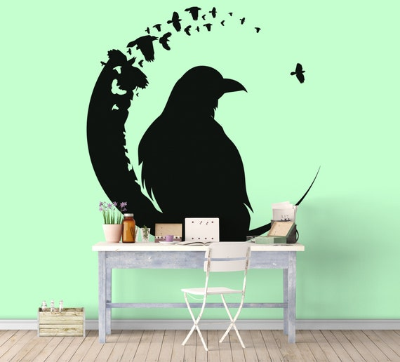 The Crow and the Moon - Iconic Wall Decals for Home Decor, Crows, Pets, Moonlight, Night time, Gothic, Magical Minds Collection, Vinyl