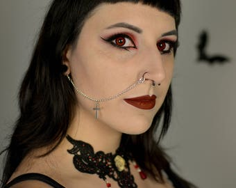 Cross nose to ear chain / lip to ear chain / goth alternative