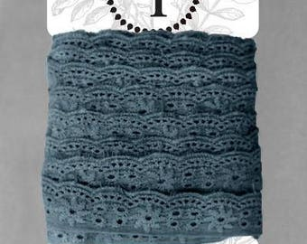 Naturally Dyed Organic Cotton Lace, 25mm wide - Indigo *sold by the 5m card*