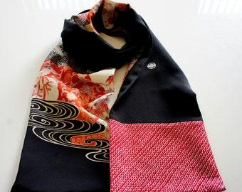 Japanese silk kimono scarf | 134 | Hand made from vintage kimono fabrics