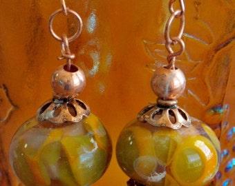 Handmade Lampwork Glass and Copper Earrings