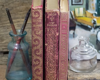 Set of Three Hard Cover Antique Books, Shabby Decor, Display, Collection, Photo Props, Burgundy