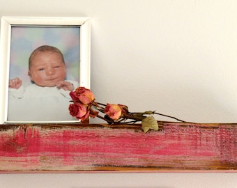 SALE-Photo Ledge, Picture Ledge, Baby-Girl Room Wall Display, Childrens-Teens Book Display