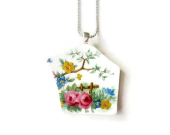 floral necklace, spring, statement jewelry, vintage necklace, porcelain pendant, dainty jewelry, long necklace, gift women