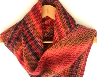 Chunky knit red striped shawl , feminine winter accessory , 100% wool hand knitted wrap , long women's scarf , clothing gift for her