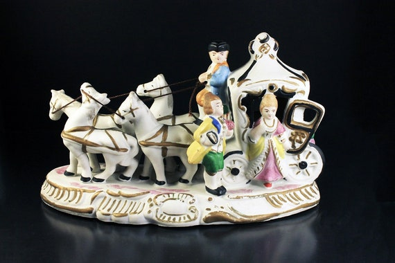 Figurine, Horse and Carriage, Boane China, Statue, Porcelain, Hand Painted, Collectible
