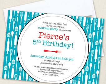 Cooking Party Invitations - Professionally printed *or* DIY printable