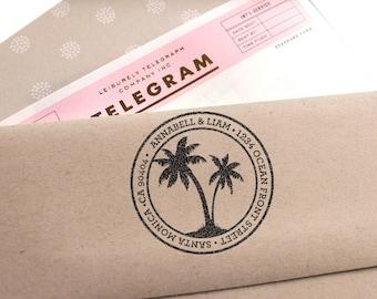 Custom Address Stamp, Palm Tree Return Address Stamp, Destination Wedding Stamp, Save The Date Stamp, Wedding Gift, Self Inking Stamp, DIY
