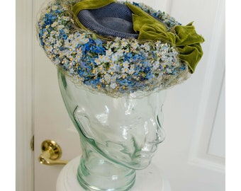 Vintage 1940's Lilly Dache Spring Purple Straw Tilt Hat with Blue Flowers with Green Ribbon