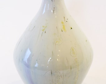 "Free Shipping - Hand Thrown Pottery Vase - White with White Gold Crystals & Purple Glaze Streaking, Approx 7"" tall"