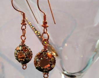 Copper and sterling silver earrings, boho drop earrings, copper and silver dangle earrings, copper and silver tab earrings