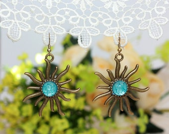 Sun Earrings, Polymer Clay Earrings, Armenian Made, Drop Earrings, Bohemian, Boho Jewelry, Gift for her, Polymer Clay Jewelry